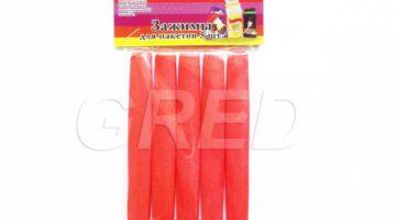 Зажимы для пакетов — набор 5 шт красного цвета